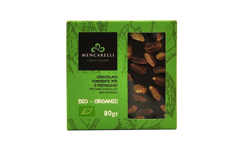 Tavoletta 80g Cioccolato Fondente 70% e Pistacchio - Biologico