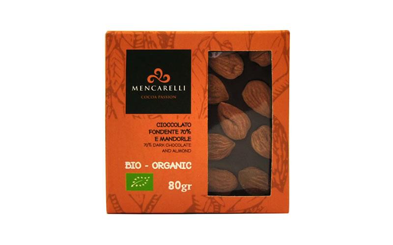 Tavoletta 80g Cioccolato Fondente 70% e Mandorla - Biologico